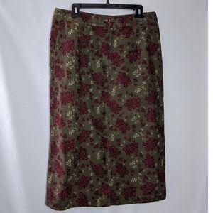 Eddie Bauer Skirts - Eddie Bauer Green Floral Corduroy A Line Skirt 10